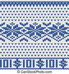 Knitted dollar scheme - Knitted dollar blue white scheme...