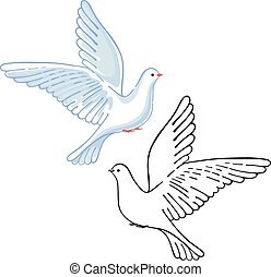 Soaring dove colored black, vector illustration isolated on...