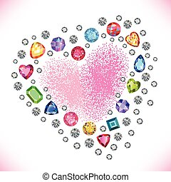 Colored gems heart shape frame isolated on light background,...
