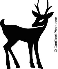 Marvellous fawn with interest looks aside (silhouette),...