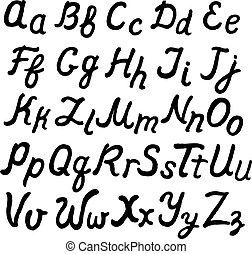 Handwritten cursive alphabet