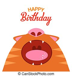 Red cat with open mouth card - Vector illustration red cat...