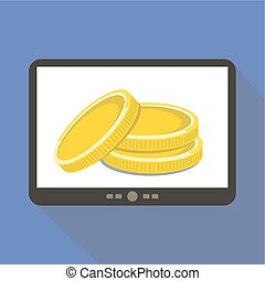 Money Tablet icon - Money coins concept tablet icon, vector...