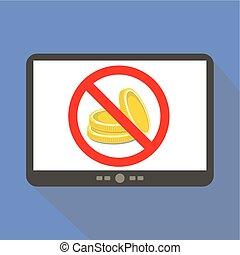 No MoneyTablet icon - No Money concept tablet icon, vector...