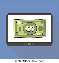 Money Tablet icon - Money concept tablet icon, vector...