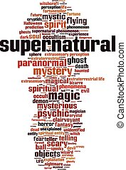 Supernatural vertical - Supernatural word cloud concept...
