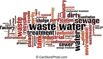 Waste water.eps - Waste water word cloud concept. Vector...