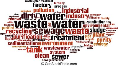 Waste water horizon - Waste water word cloud concept. Vector...