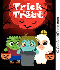 Halloween background with children trick or treating in...