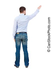 Back view of pointing business man.