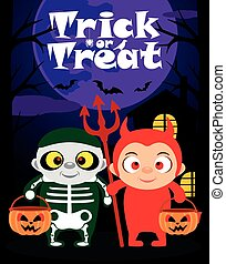 Halloween trick or treating background with children in...