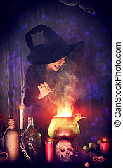 medieval witch - Attractive witch conjures in the wizarding...