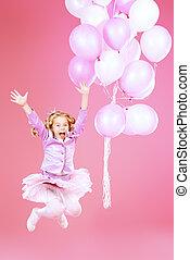 high spirits - Pretty little girl with beautiful blonde hair...