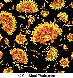 Traditional russian khokhloma seamless pattern.