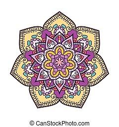 Doodle boho floral round motif. Vector illustration.