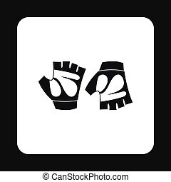Gloves for biker icon, simple style - Gloves for biker icon...