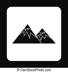 Winter mountains icon, simple style