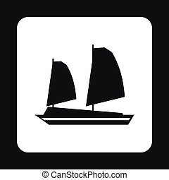 Vietnamese junk boat icon, simple style - Vietnamese junk...