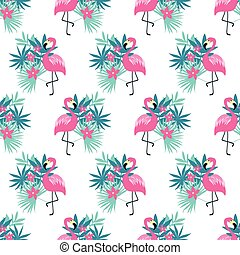 Pink flamingo seamless - Seamless pattern with a pink...