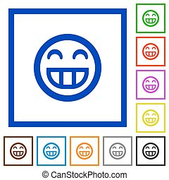 Laughing emoticon framed flat icons