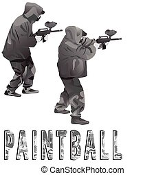Players in a paintball in a camouflage in a vector