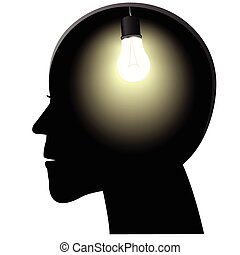 Symbol of a birth of idea in a head in the form of a shone...