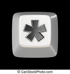 Computer keyboard key asterisk sign 3D render illustration...