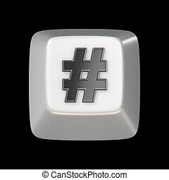 Computer keyboard key hashtag, sign 3D render illustration...