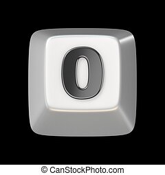 Computer keyboard key number ZERO 0 3D render illustration...