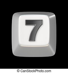 Computer keyboard key number SEVEN 7 3D render illustration...
