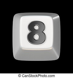 Computer keyboard key number EIGHT 8 3D render illustration...