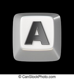 Computer keyboard key FONT. Letter A 3D render illustration...
