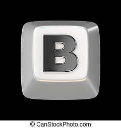 Computer keyboard key FONT. Letter B 3D render illustration...