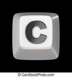 Computer keyboard key FONT. Letter C 3D render illustration...