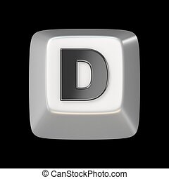 Computer keyboard key FONT. Letter D 3D render illustration...