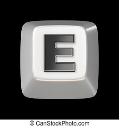 Computer keyboard key FONT. Letter E 3D render illustration...