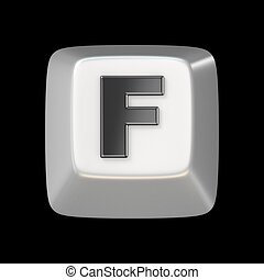 Computer keyboard key FONT. Letter F 3D render illustration...
