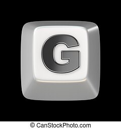 Computer keyboard key FONT. Letter G 3D render illustration...