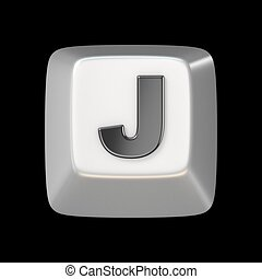 Computer keyboard key FONT. Letter J 3D render illustration...