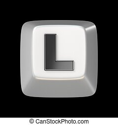 Computer keyboard key FONT. Letter L 3D render illustration...