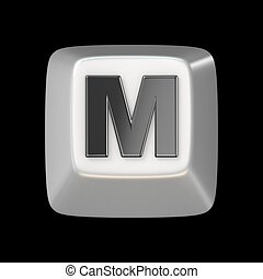 Computer keyboard key FONT. Letter M 3D render illustration...