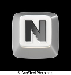 Computer keyboard key FONT. Letter N 3D render illustration...