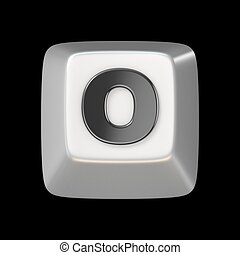 Computer keyboard key FONT. Letter O 3D render illustration...