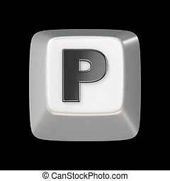 Computer keyboard key FONT. Letter P 3D render illustration...