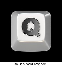 Computer keyboard key FONT. Letter Q 3D render illustration...