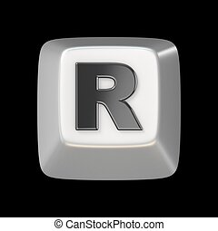 Computer keyboard key FONT. Letter R 3D render illustration...