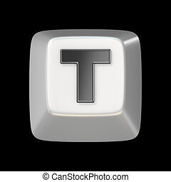 Computer keyboard key FONT. Letter T 3D render illustration...