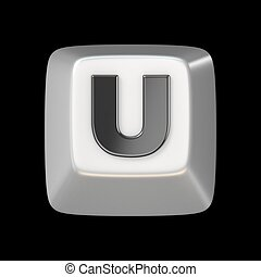 Computer keyboard key FONT. Letter U 3D render illustration...