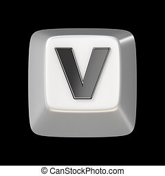 Computer keyboard key FONT. Letter V 3D render illustration...