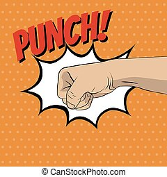 Fist punching in pop art style